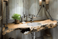 Wooden home decoration ideas Rustic sink with heartwood character
