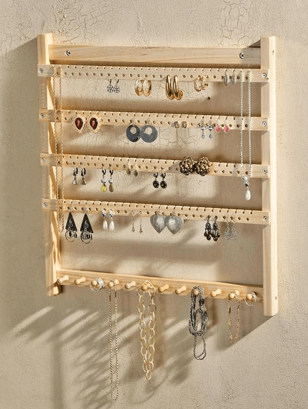 Wooden jewelry holder wall decor ideas