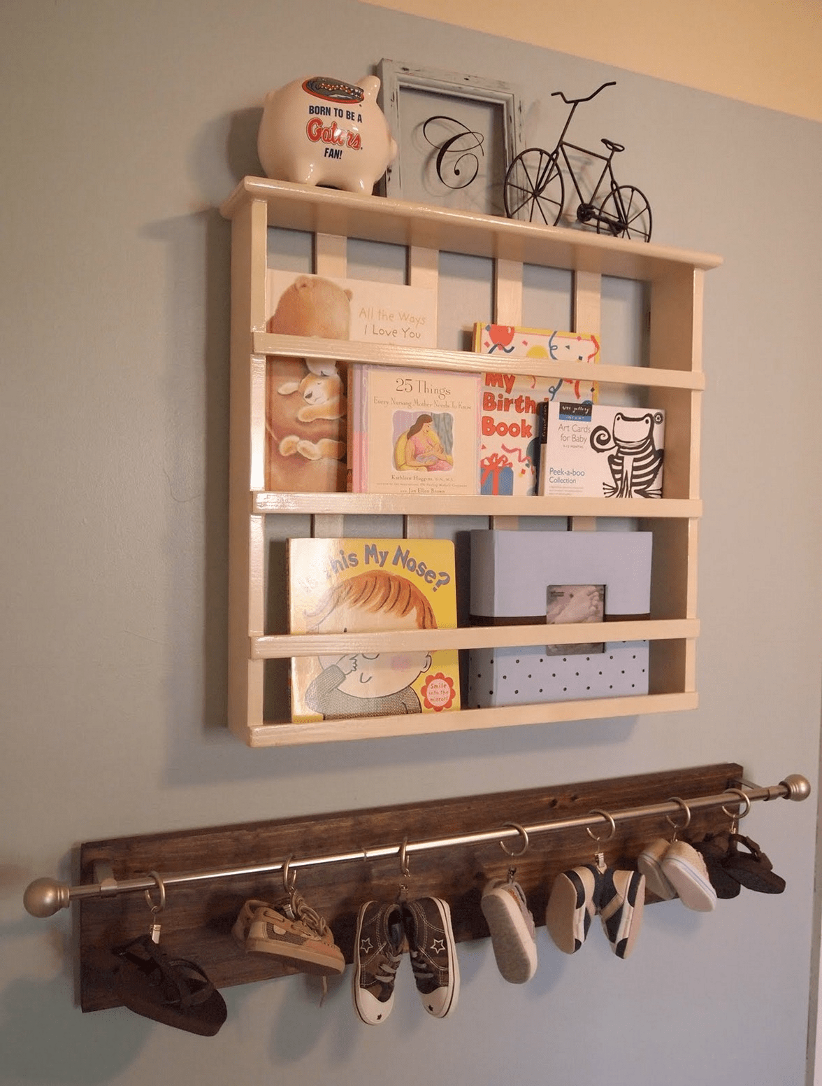 Wooden recycled Baby shoe rack wall decor ideas