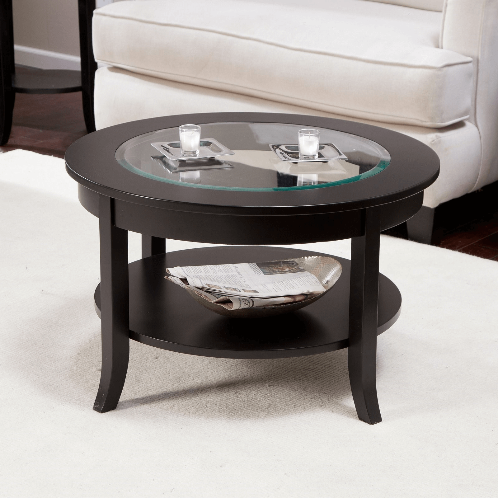 Candles or little lamp can be good ideas for black round coffee table decor ideas