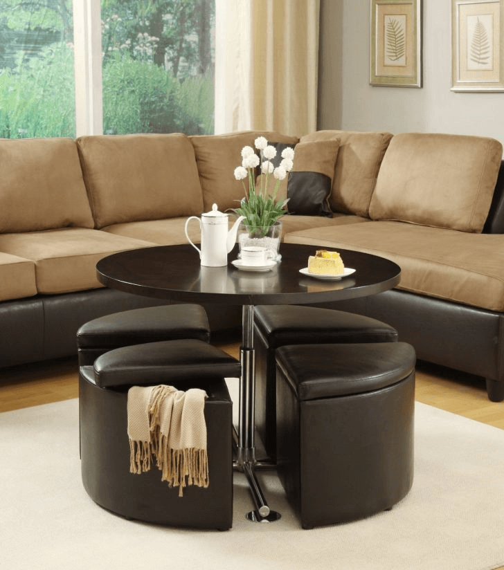 Flower pot for black brown round coffee table living room decor ideas