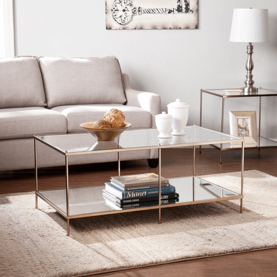 Goldtone glass Mirrored coffee table for living room