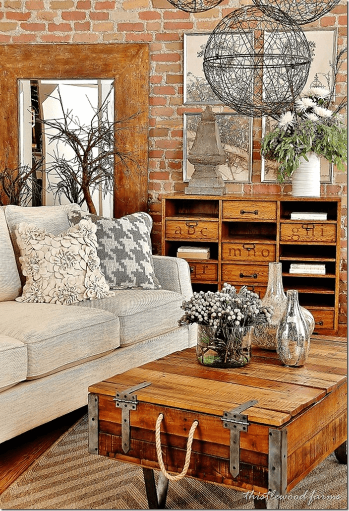 Living room with farmhouse coffee table and unique decoration ideas