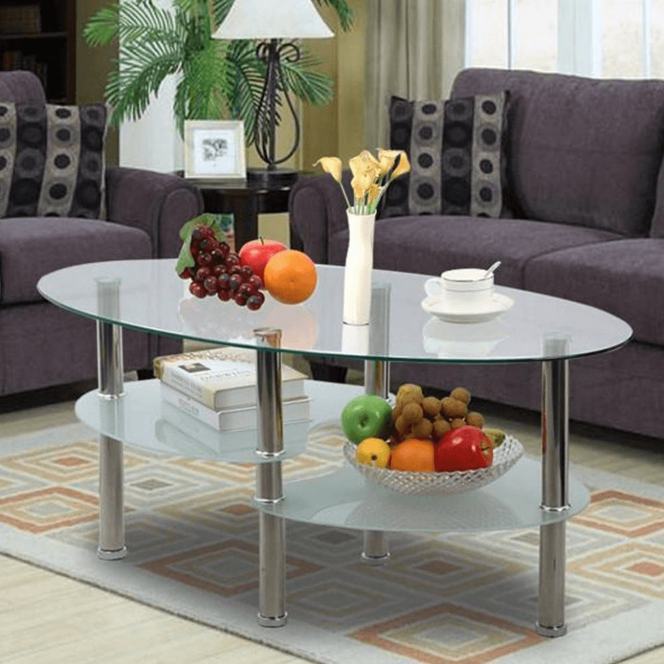 Oval Coffee Table for Small Space Living Room