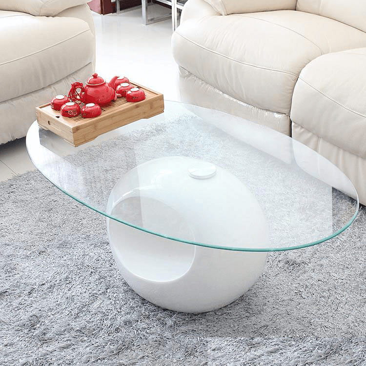 Ovale clear glass coffee table for small space living room