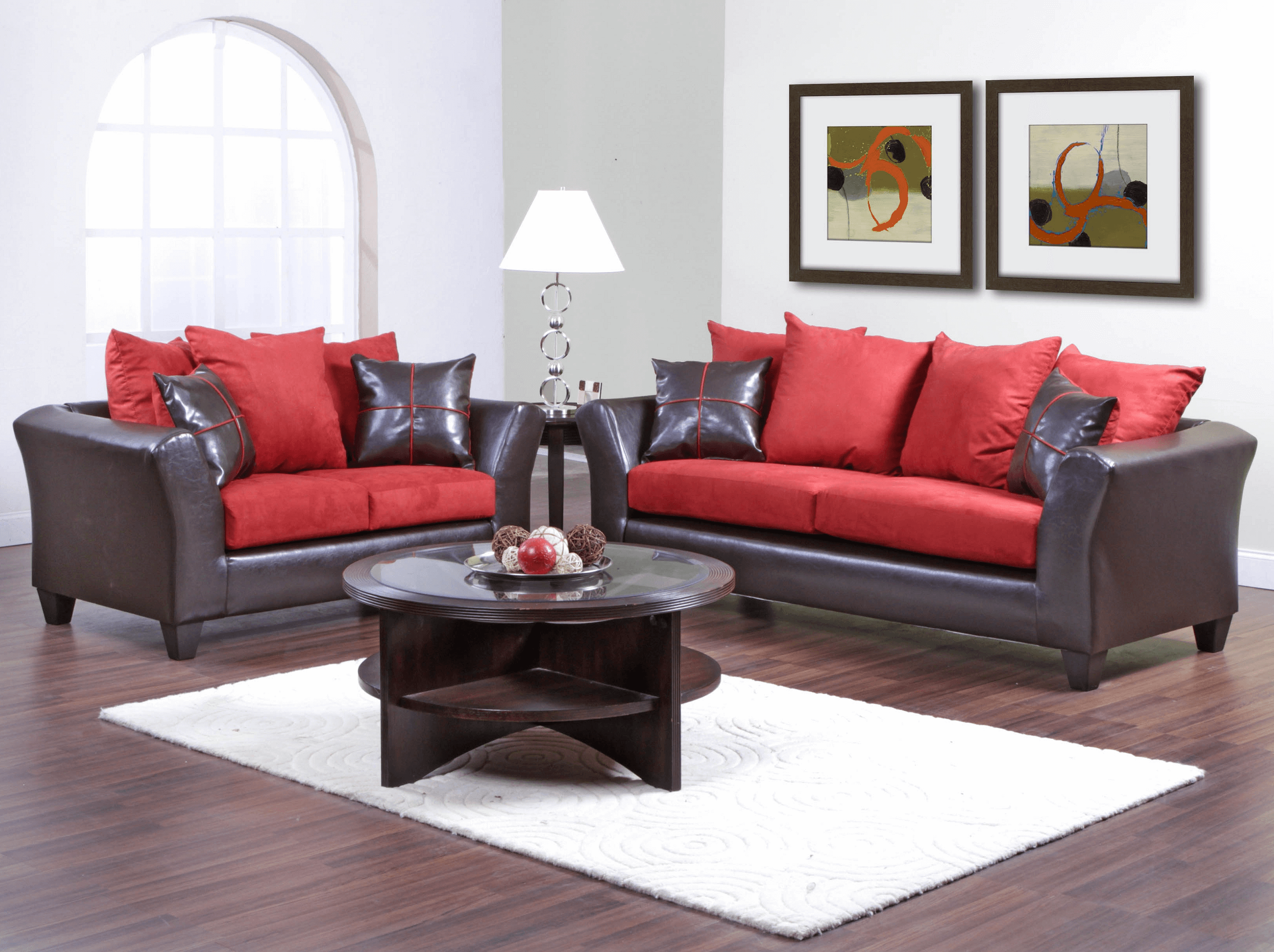 Play with color rug and sofa for combination decor round black coffee table living room