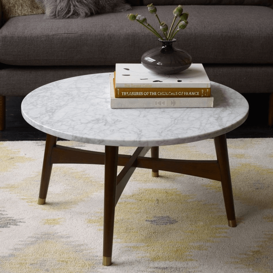 Round Top Marble Coffee Table Design ideas for luxurious or glamour living room