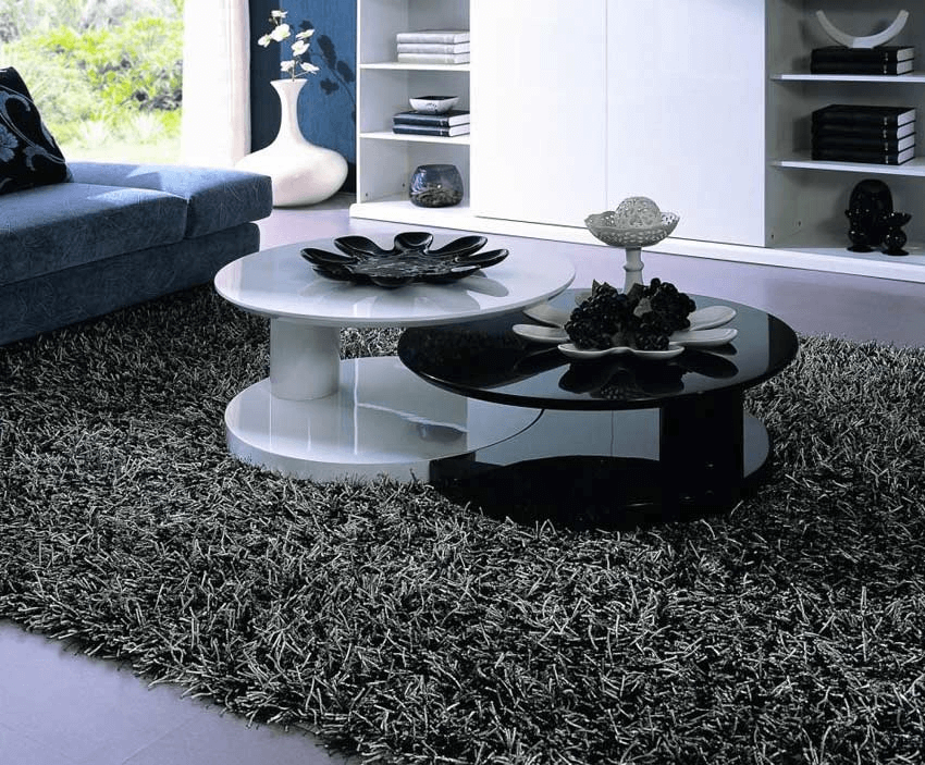 Round white black coffee table living room decoration with fruits and Antique Tray