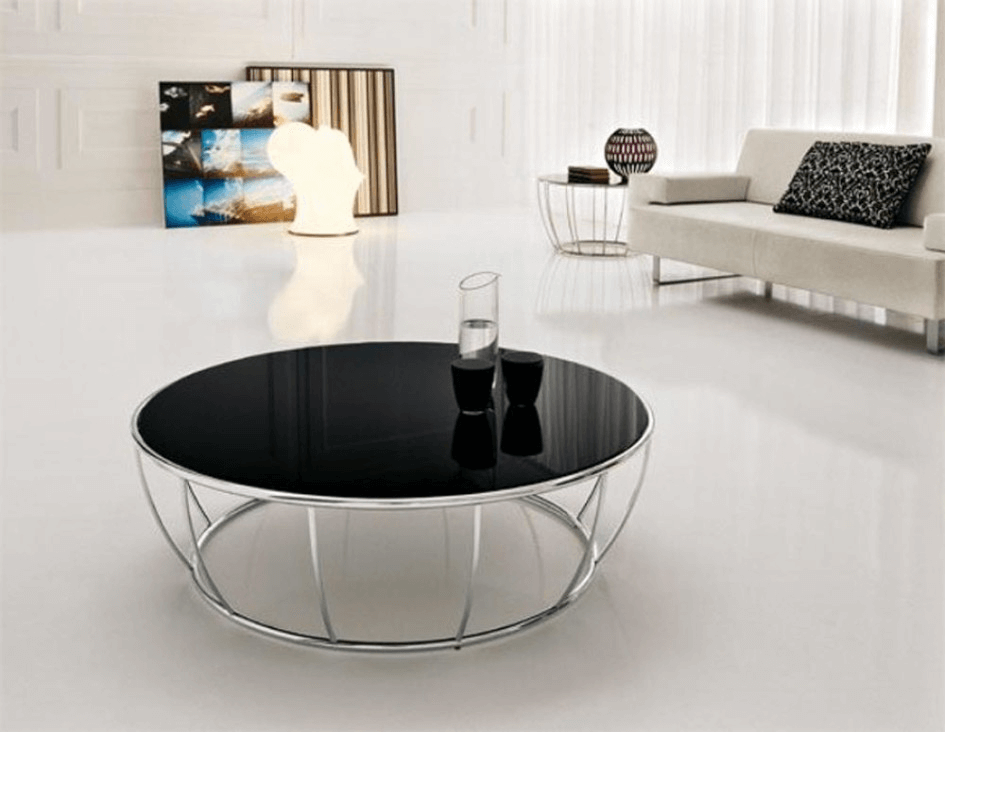 Simple black round coffee table contemporary modern living room decor ideas