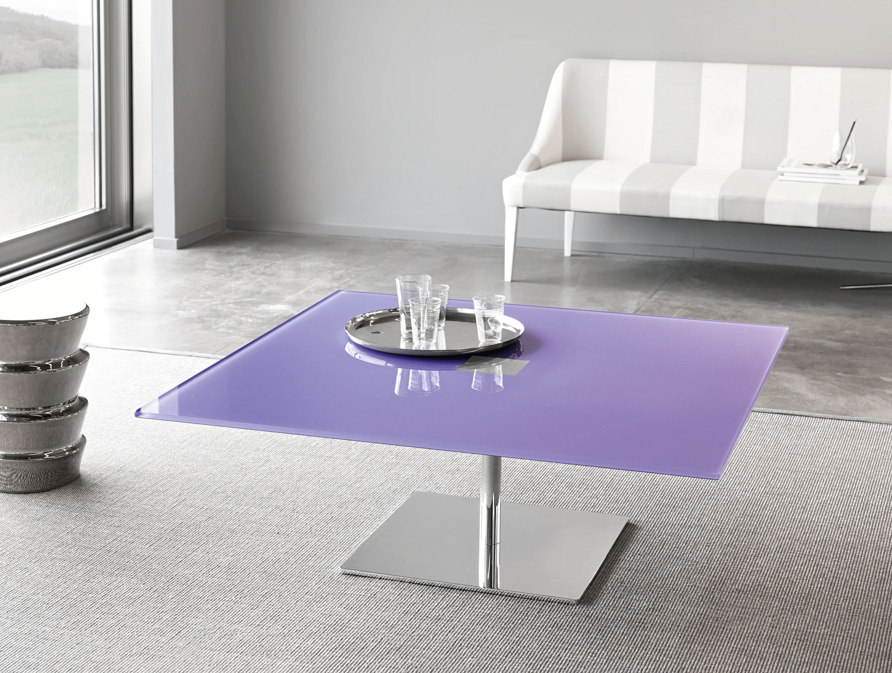 Tinted or Coloured Glass Coffee Table for colorful modern living room design ideas