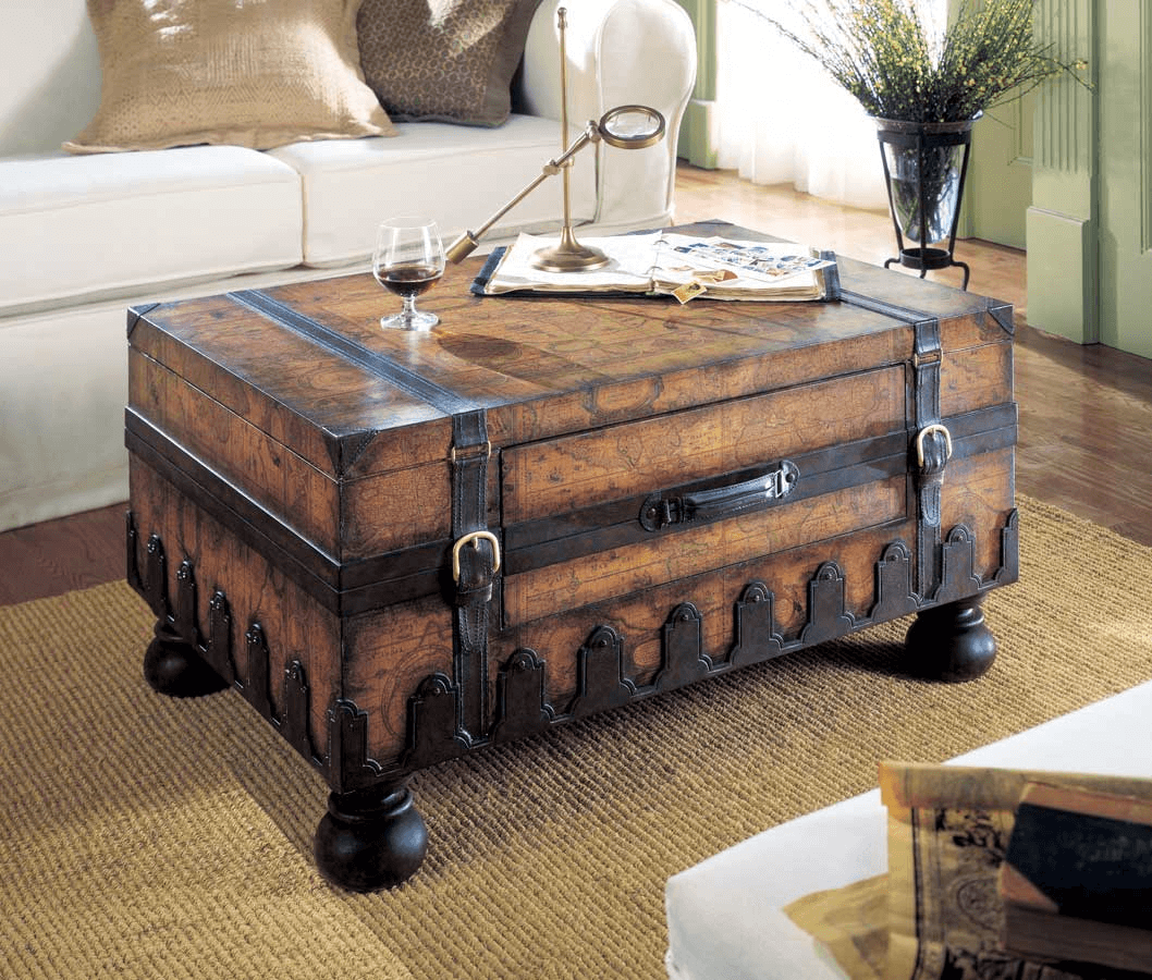 Vintage Trunk Coffee Table for Small Space Living Room