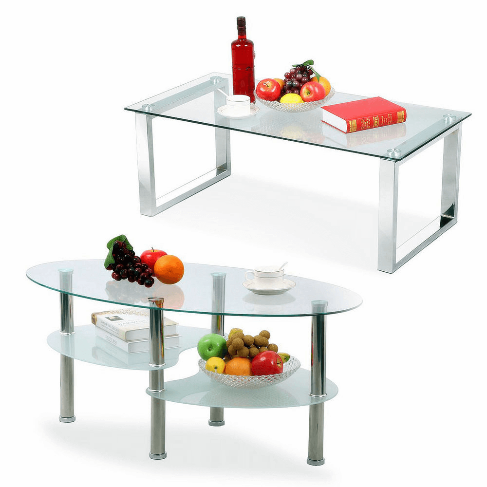 Awesome glass ovale and square coffee table design ideas