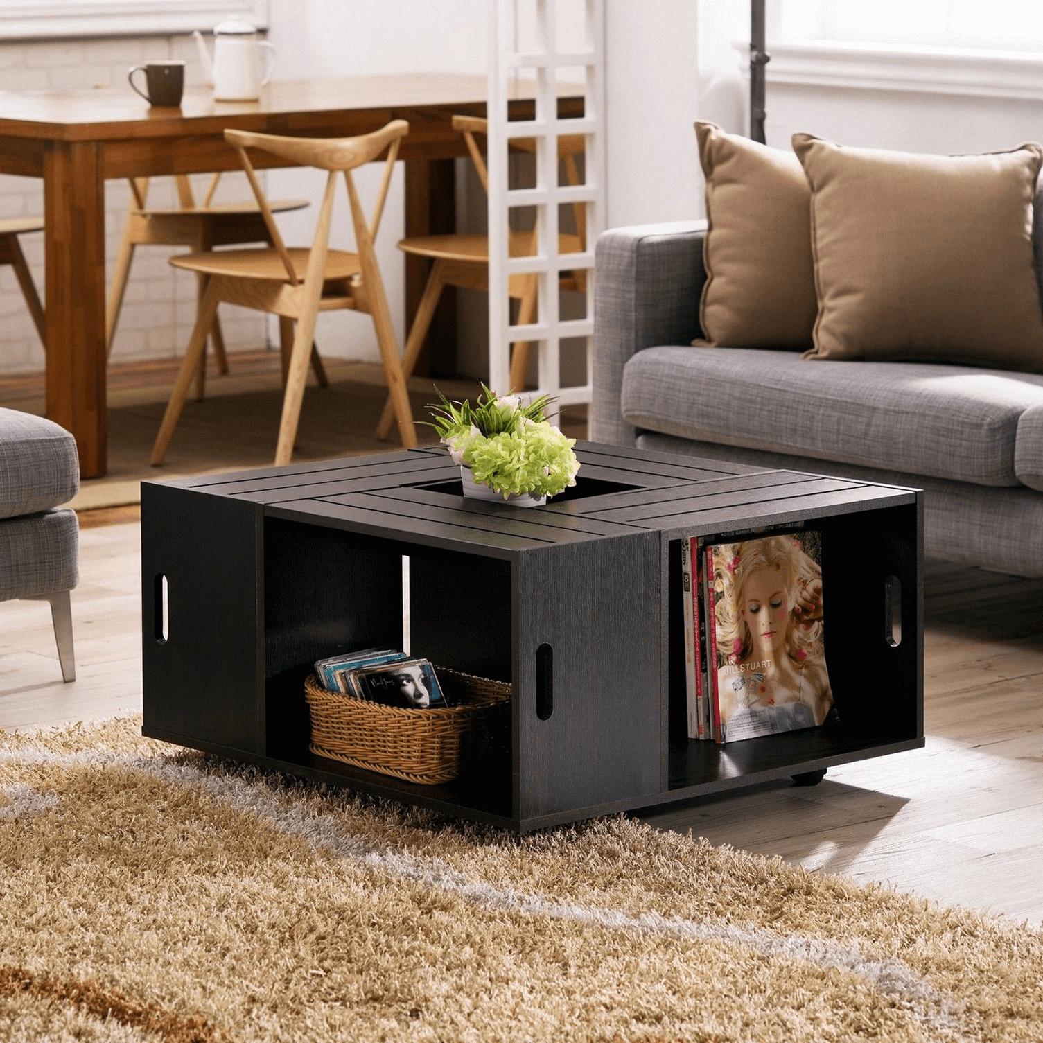 Black wooden coffee table design ideas