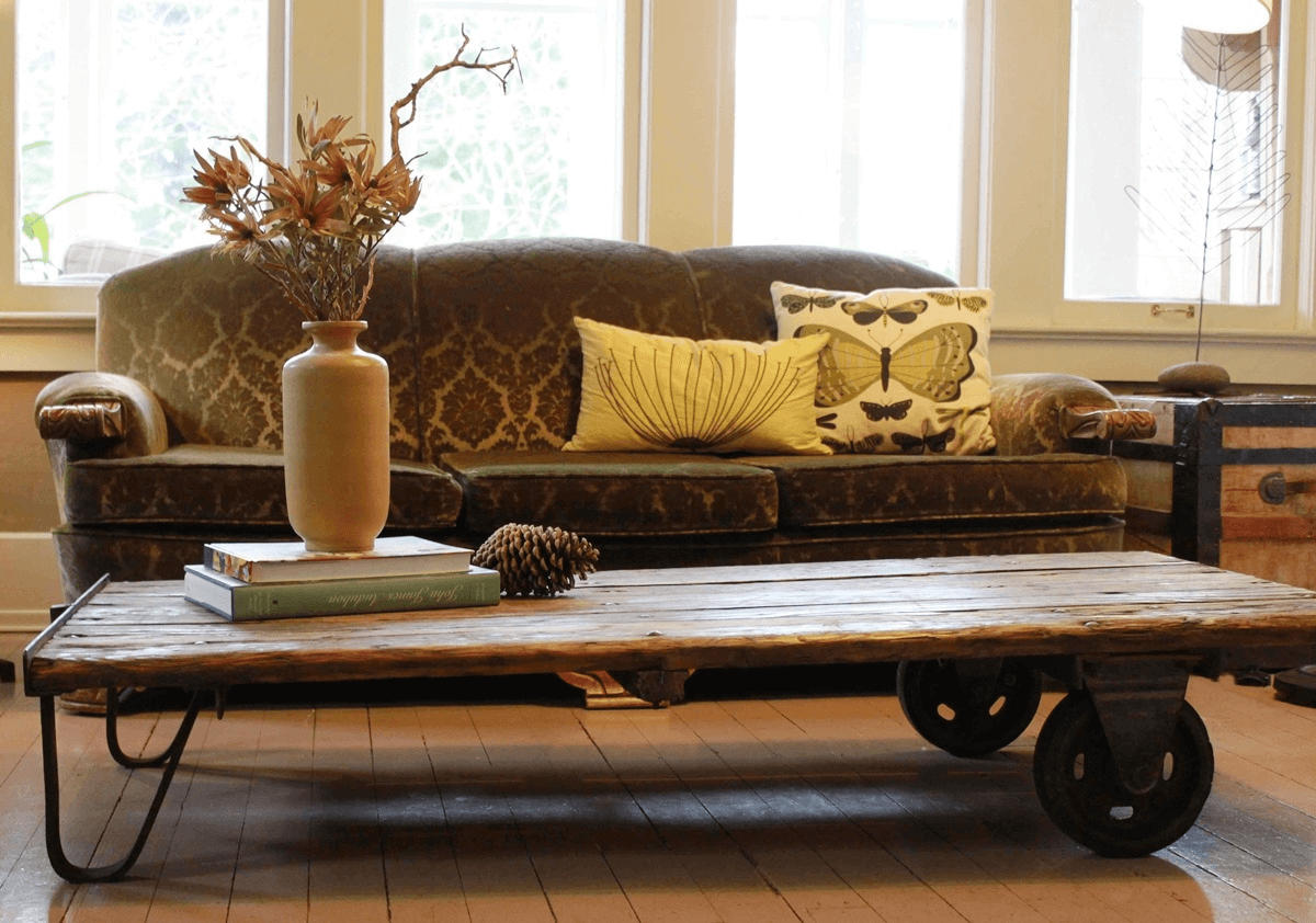 Farmhouse wood coffee table for living room