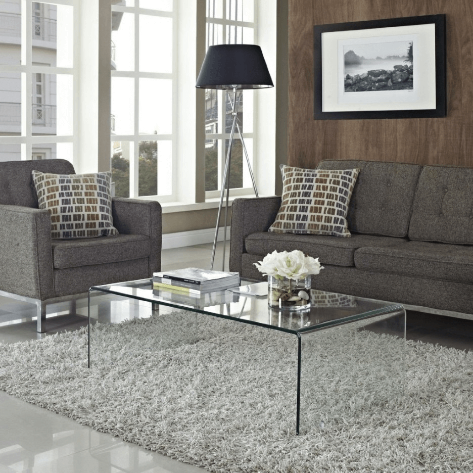 Glass coffee table living room decoration