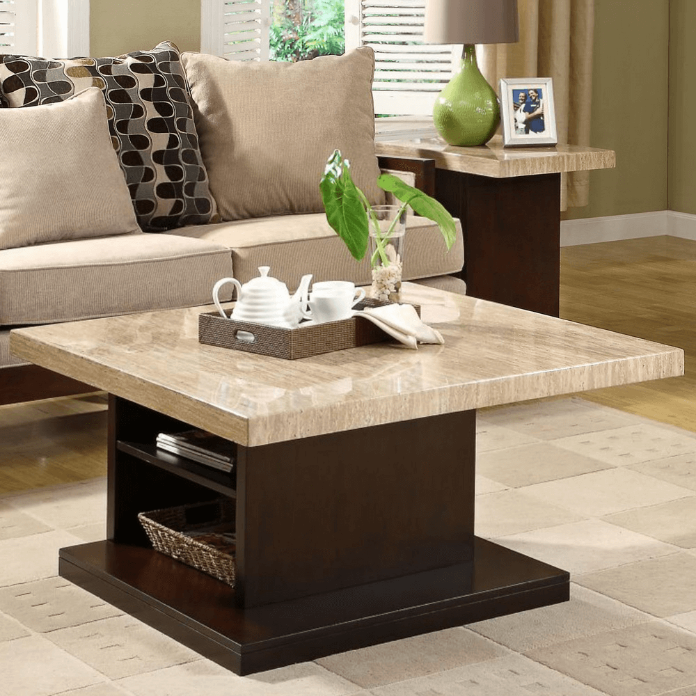 Marble coffee table with storage living room