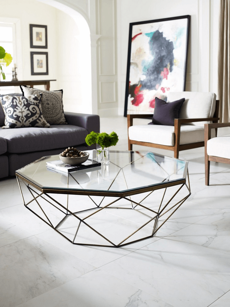 Unique design glass coffee table design for living room