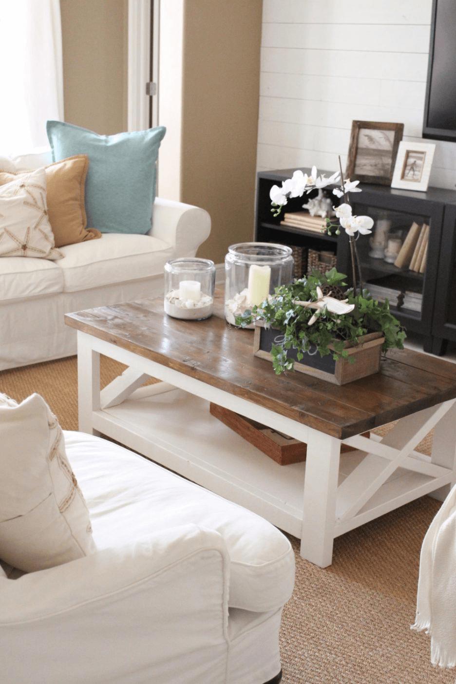 Wood coffee table living room decoration