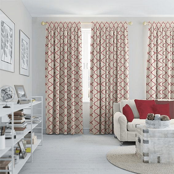 Add Cream on Patterned Curtain for modern living room design ideas