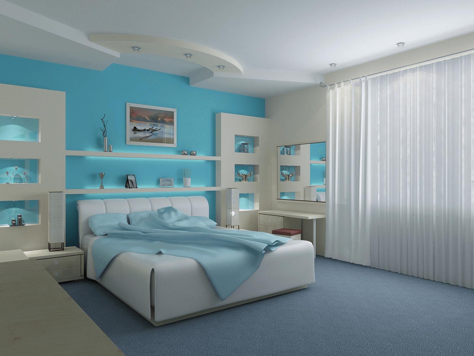 Blue skywall bedroom color ideas