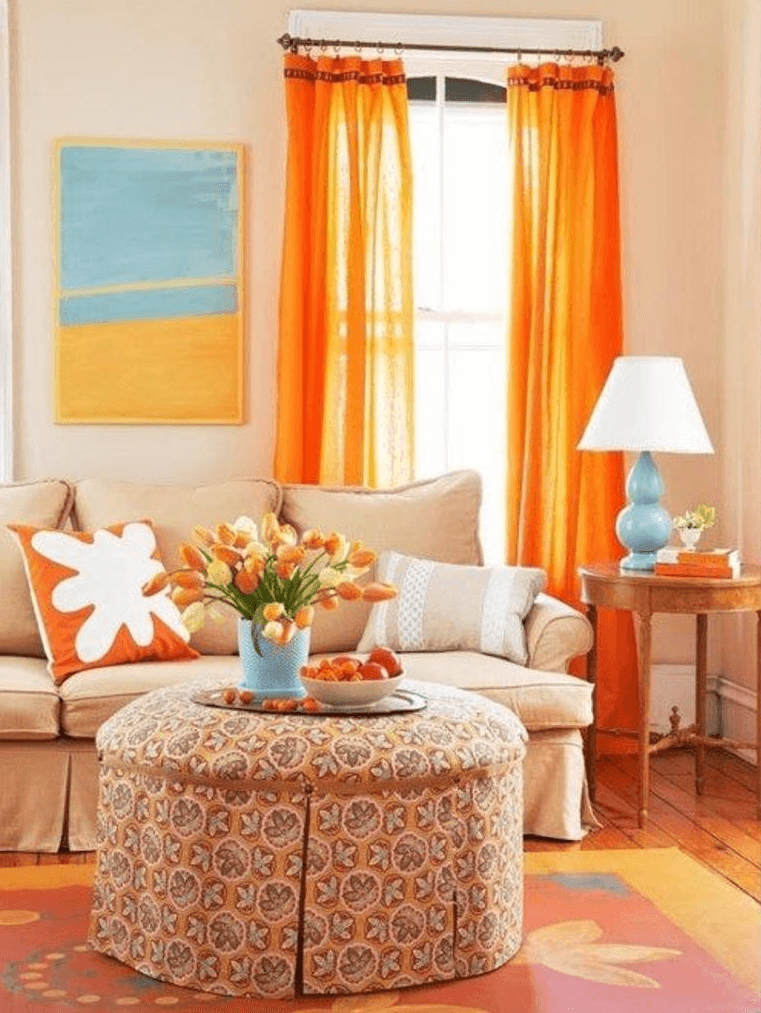 Bright Yellow Curtain for modern living room design idea