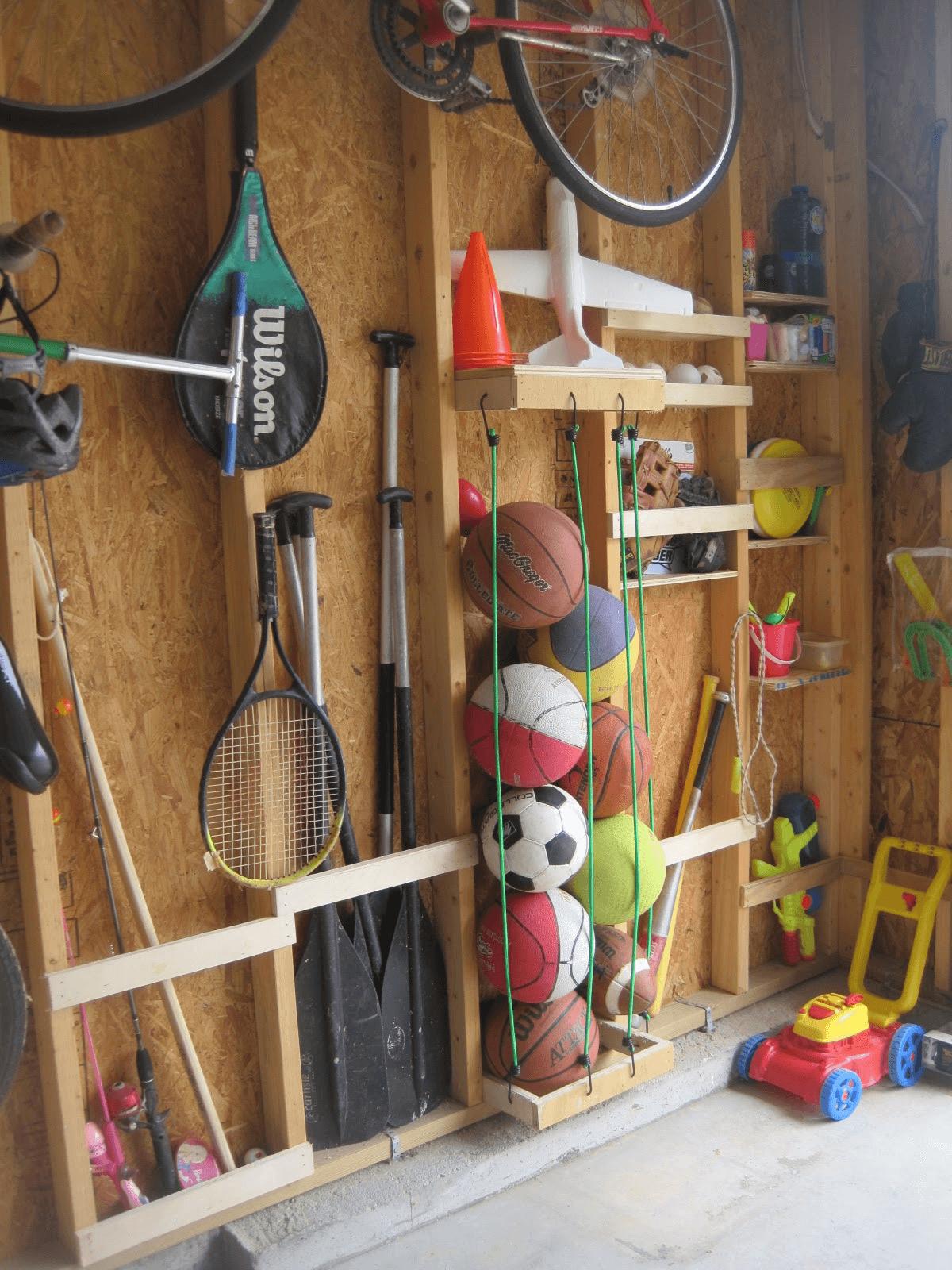 Creative garage ball holder