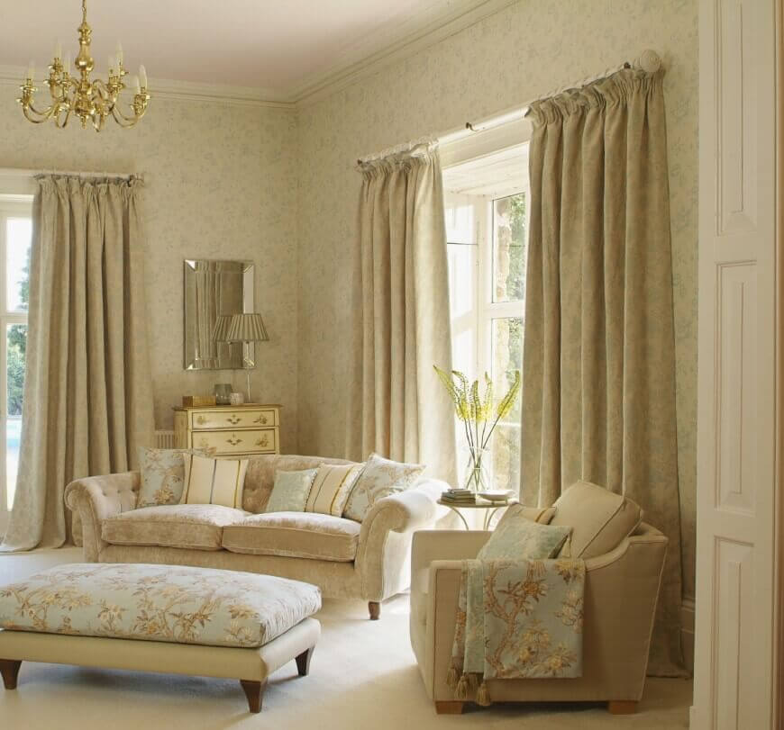 Curtain Matches Furniture for modern living room design