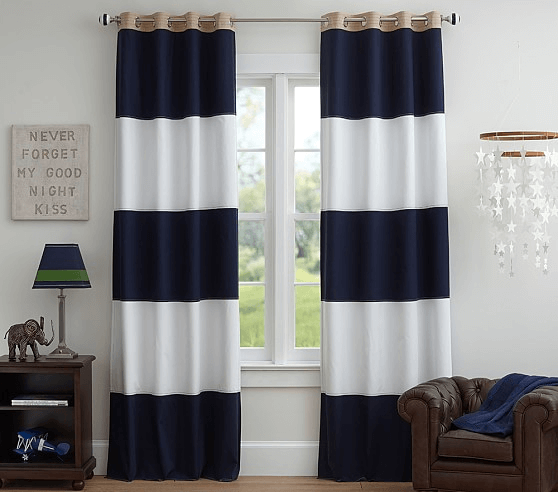 Curtains with Stripe Accent for modern living room design