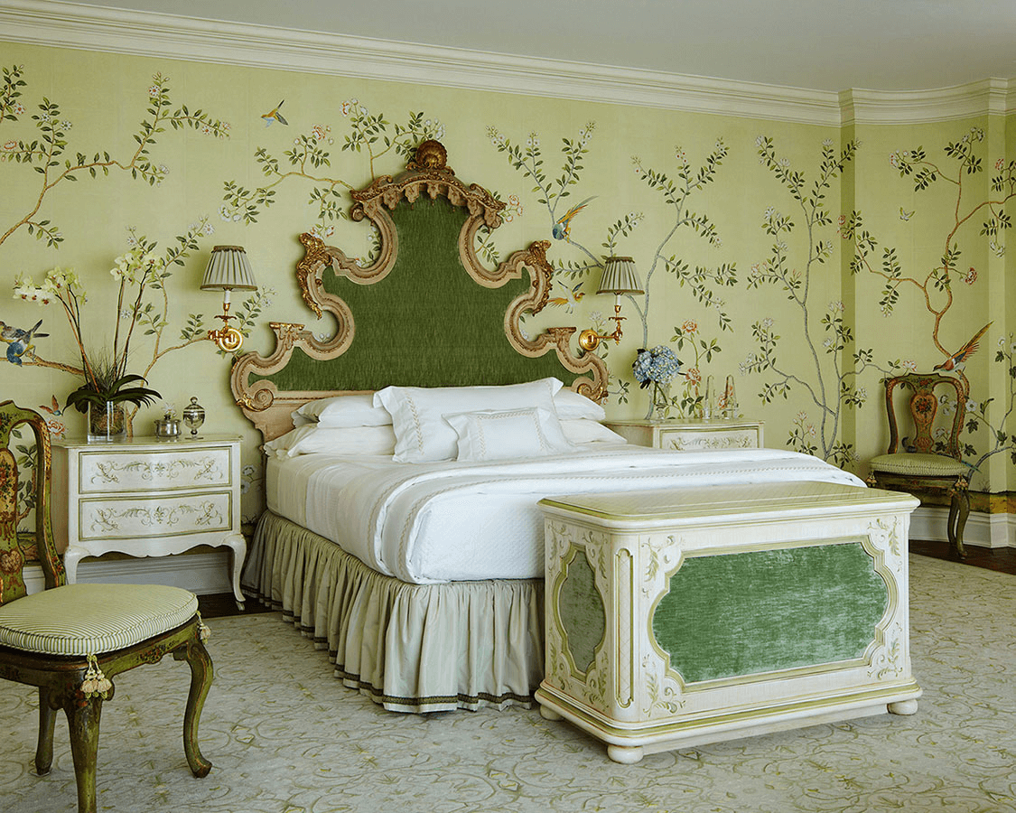 De Gournay Green and Gole Wallpaper Luxury Royal Emerald Bedroom Ideas