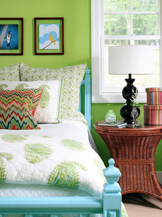 Fresh Green and Blue Bedroom Wall color ideas