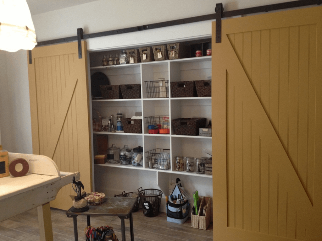 Garage storage with sliding door