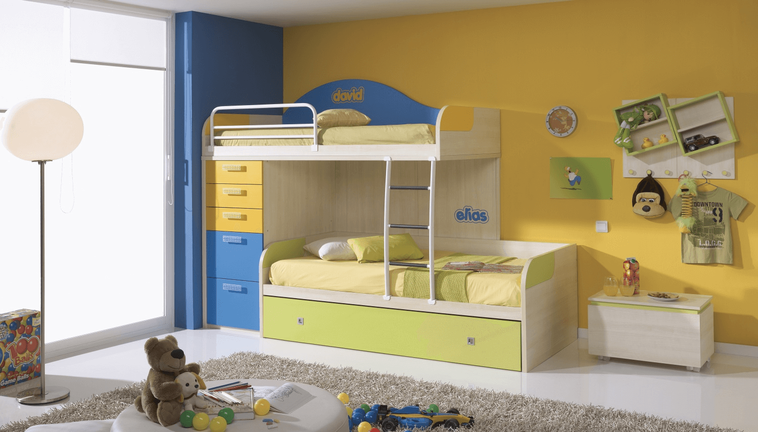 Green Yellow Camp Wall Bedroom Color Idea with Bunk Bed for Kids