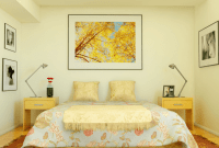 Most Popular Bedroom Wall Color Ideas with cream, big pictures, and yellow furniture