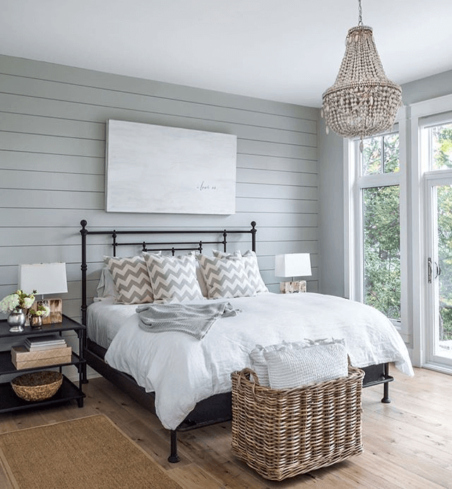 Painted shiplap farmhouse bedroom walls