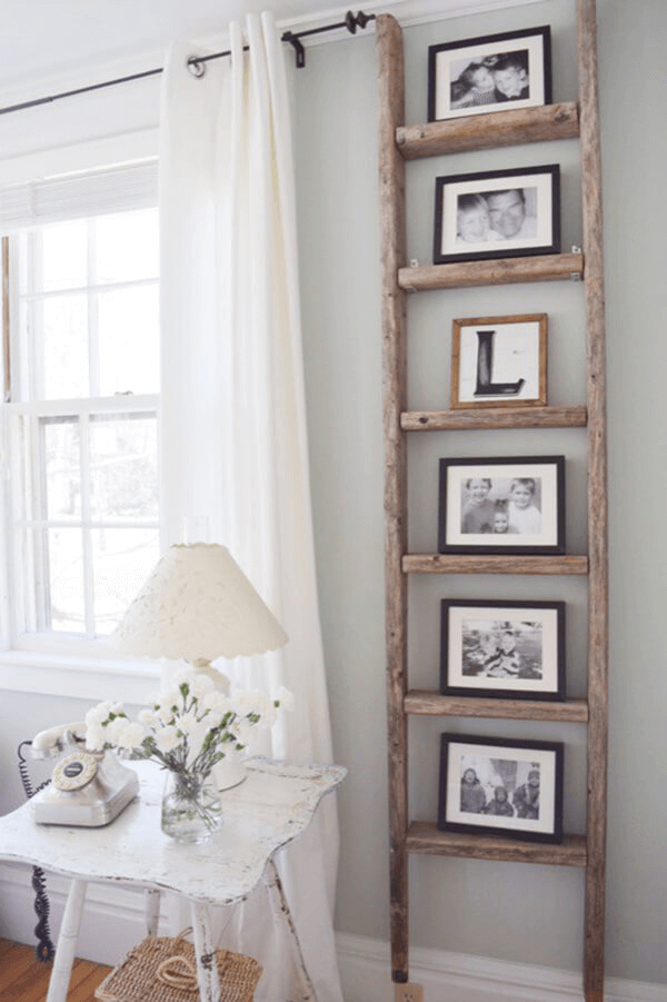 Photo Display Made of Antique Ladder for farmhouse living room decor