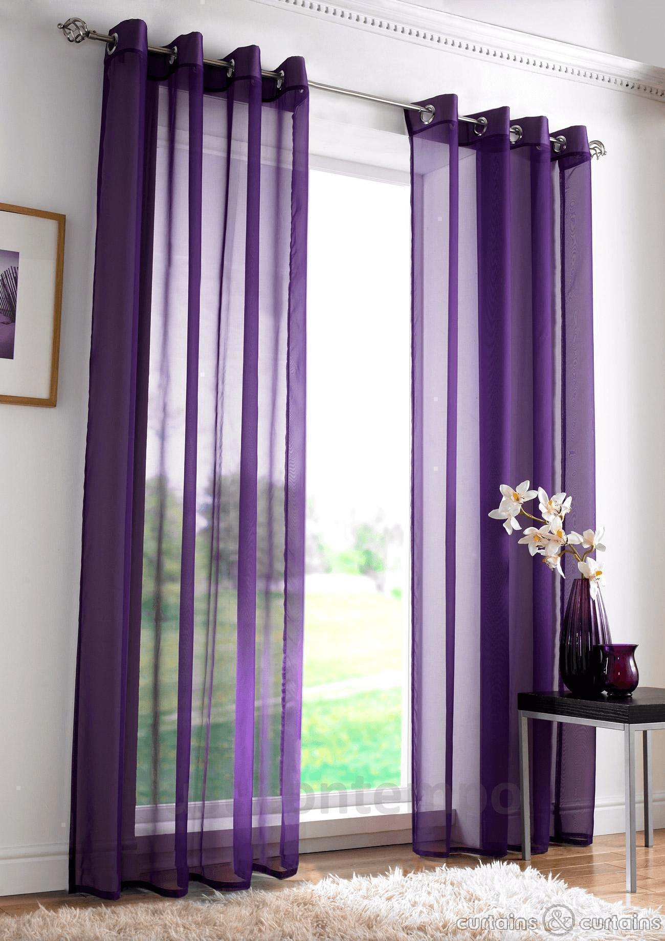 Purple Curtains for modern living room design ideas