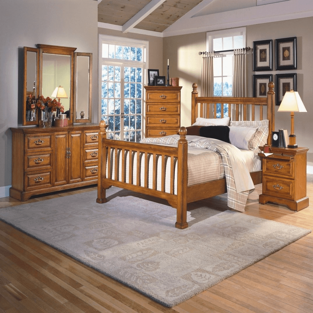 Rustic bedroom makeover wooden furniture and large window