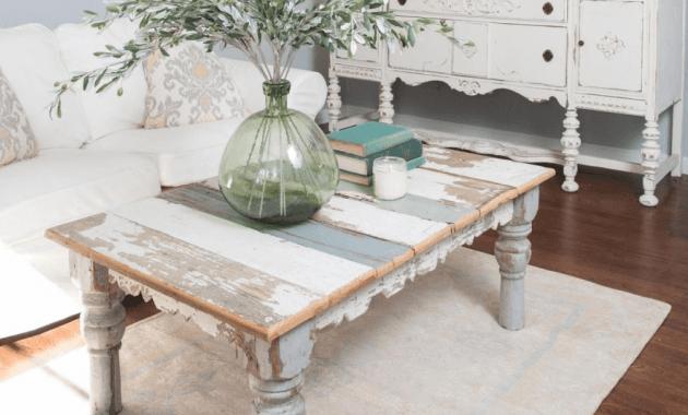 Shabby Chic Coffee Table For Farmhouse Living Room Decor Ideas