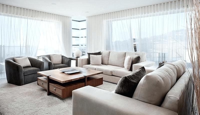 Sheer Curtains for modern living room design ideas