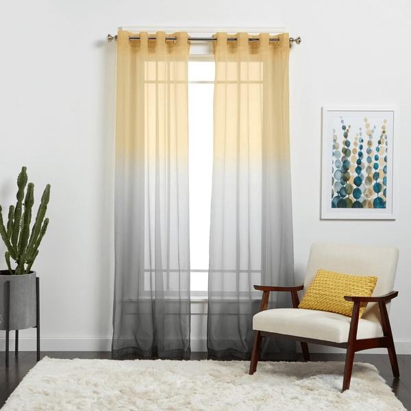 Sheer Glamorous Golden Curtain for modern design living room
