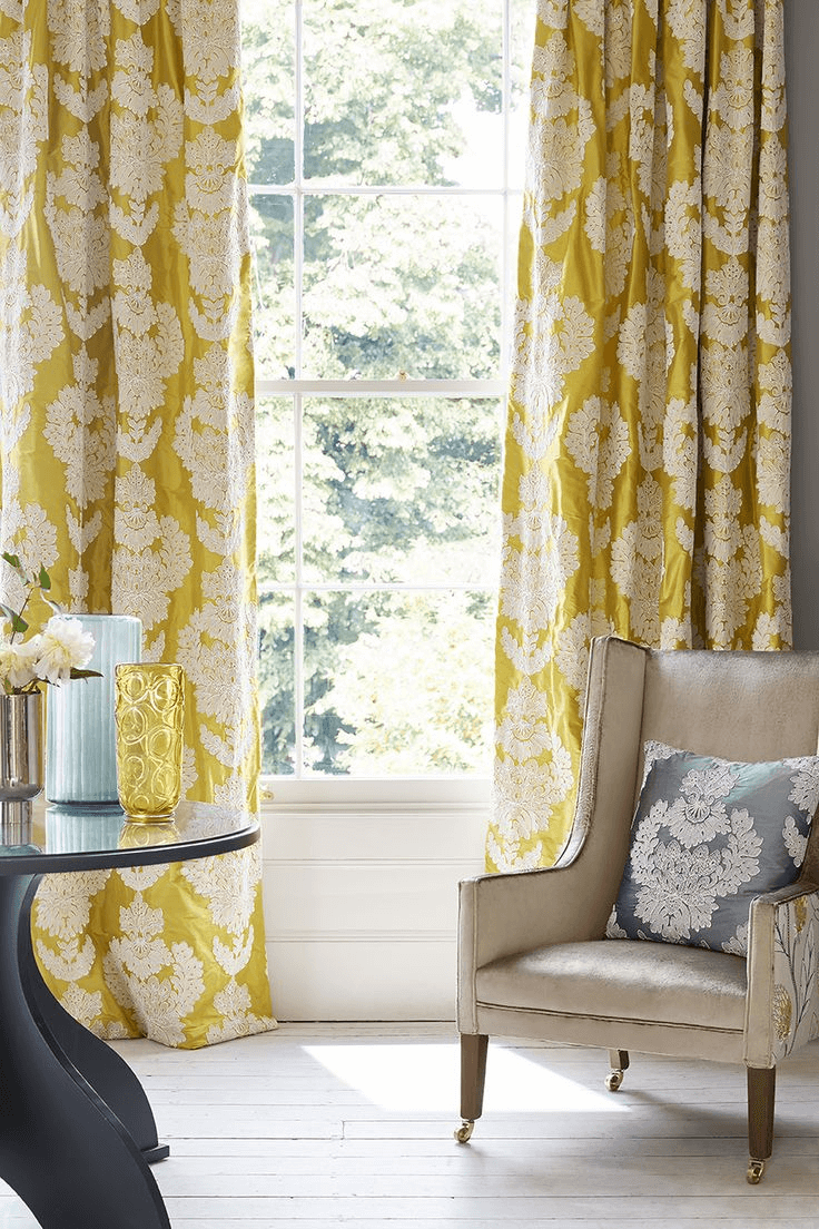 Simple Silk Curtain with Vibrant Hue for modern living room design