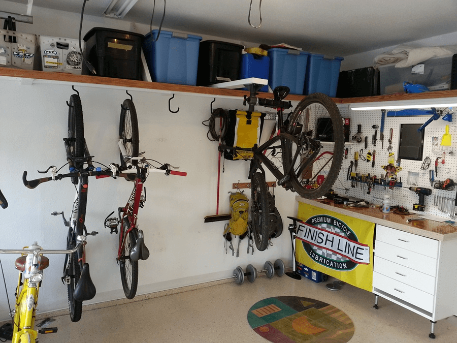 Small garage bicycle storage