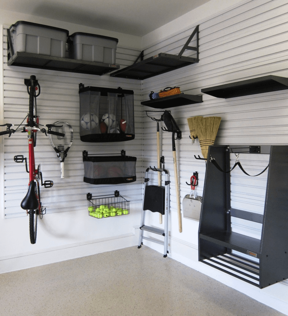 Small garage organizing ideas with Corner Shelves and black furnitures