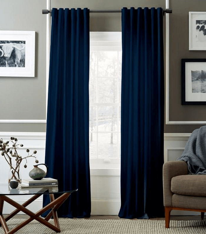 Stand Out Royal Blue Curtain for modern living room design idea