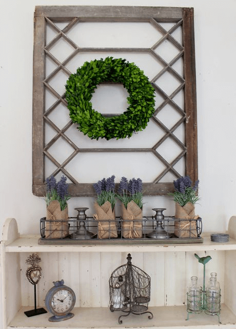 Wall Display Made of Distressed Window Frame and Boxwood Wreath