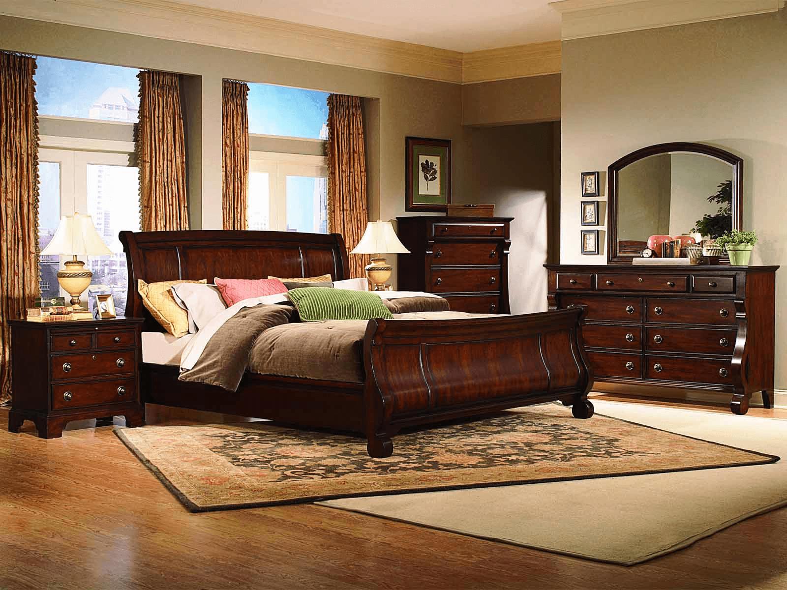 Bedroom with oak furniture