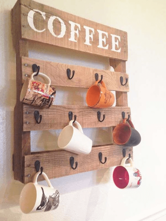 Coffee glass hanger rack creative DIY kitchen decor