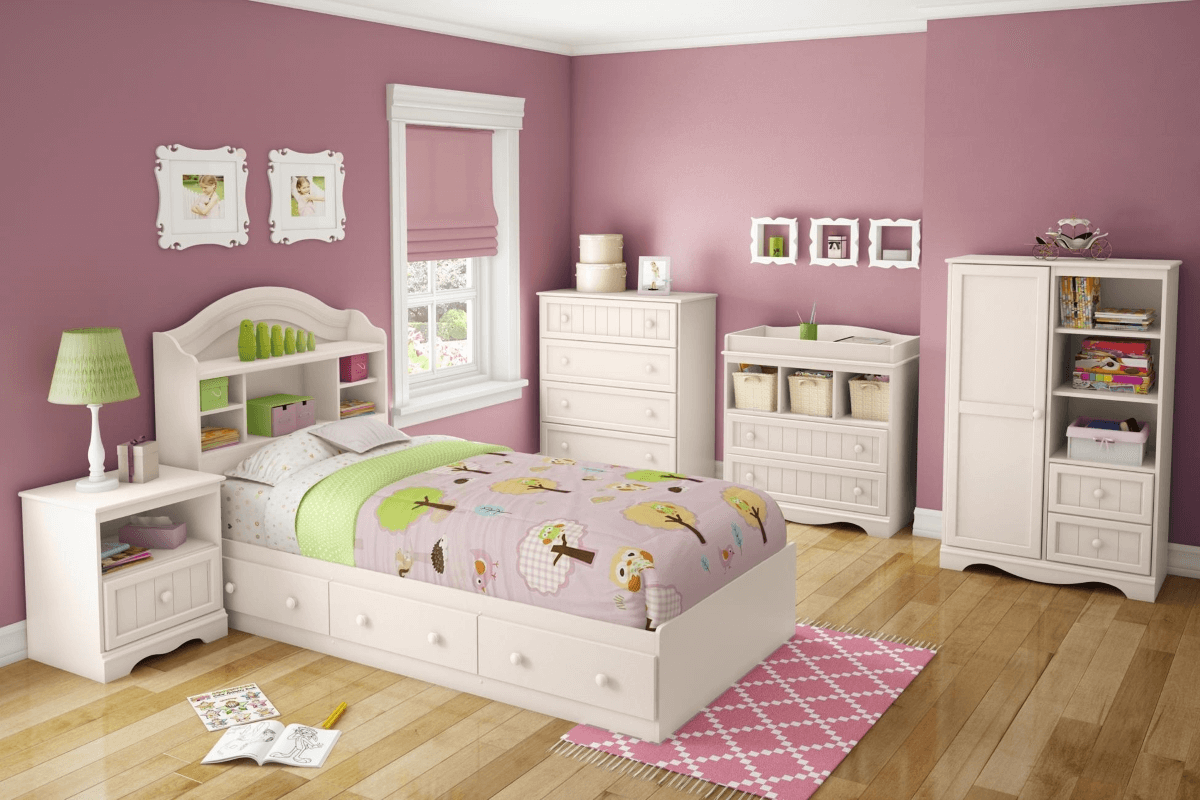 Pink wall and white bedroom furniture sets