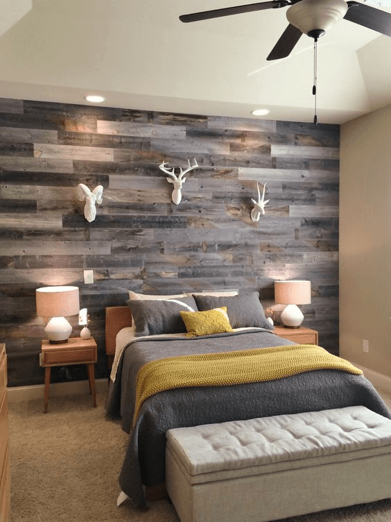 Reclaimed Wood for Rustic Bedroom Walls