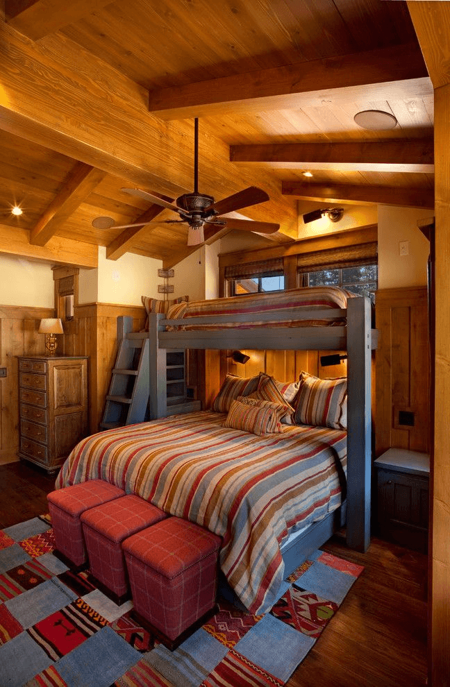Rustic bunk bed for bedroom design ideas